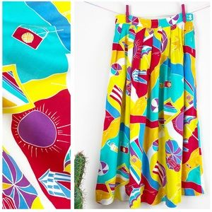 VTG 80s Segue Rainbow Beach Scene Midi Skirt